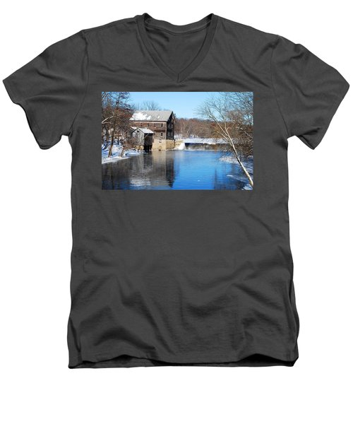 Winter Capture Of The Old Jaeger Rye Mill Men's V-Neck T-Shirt by Janice Adomeit