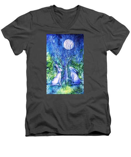 Winter Descends As Two Hares Contemplate An Owl By Moonlight Men's V-Neck T-Shirt by Trudi Doyle