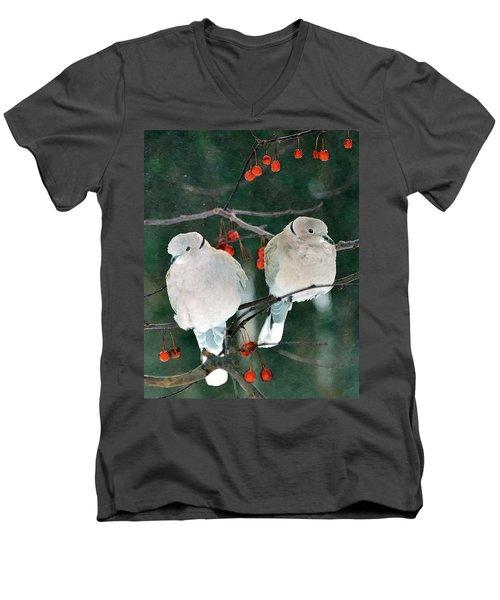 Winter Doves Men's V-Neck T-Shirt