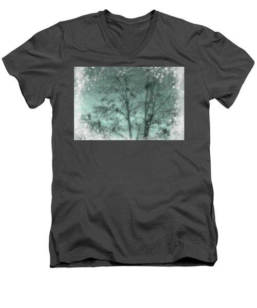 Winter Doves Men's V-Neck T-Shirt by Diane Alexander