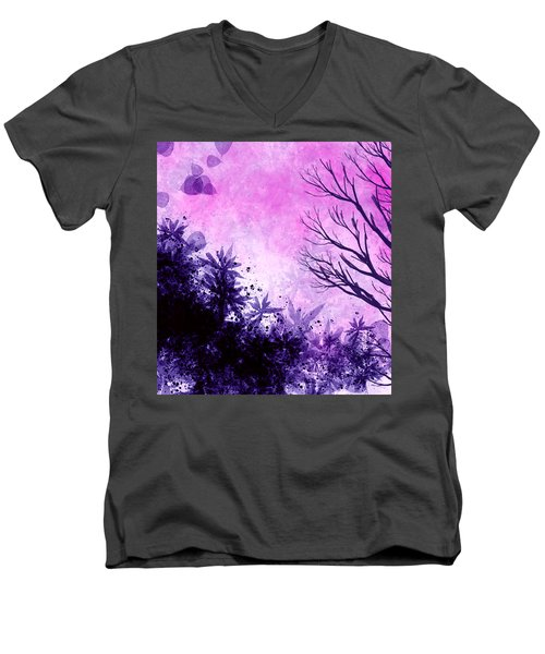 Men's V-Neck T-Shirt featuring the painting Winter Dreams  by Persephone Artworks