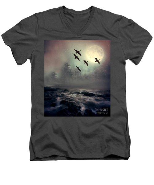 Winter Golden Hour Men's V-Neck T-Shirt by Andrea Kollo