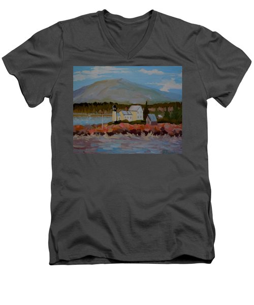 Men's V-Neck T-Shirt featuring the painting Winter Harbor Light by Francine Frank