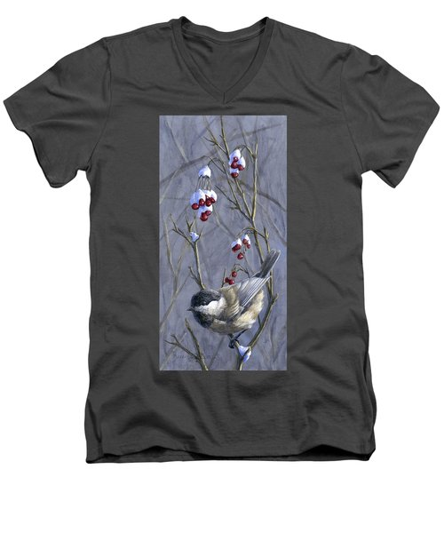 Winter Harvest 2 Chickadee Painting Men's V-Neck T-Shirt