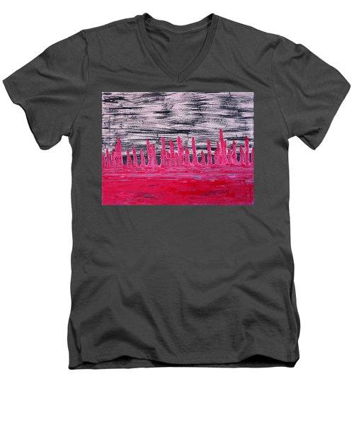 Winter Hoodoos Original Painting Men's V-Neck T-Shirt