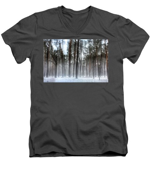 Winter Light In A Forest With Dancing Trees Men's V-Neck T-Shirt