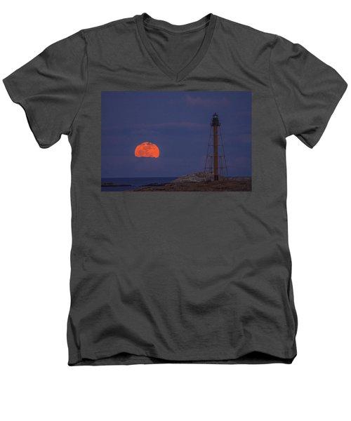 Winter Moon Rising Over Marblehead Light Men's V-Neck T-Shirt