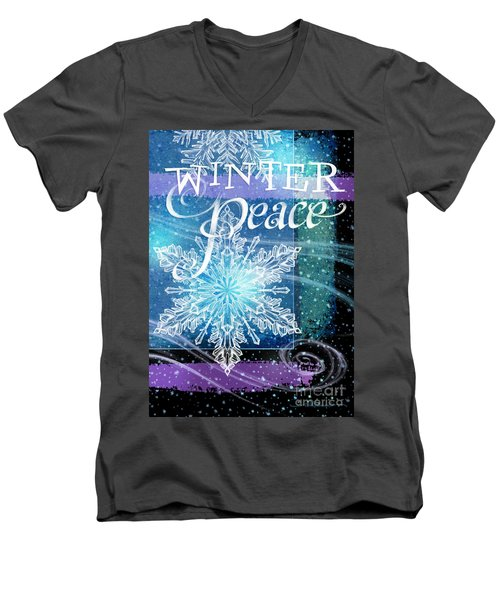 Winter Peace Greeting Men's V-Neck T-Shirt