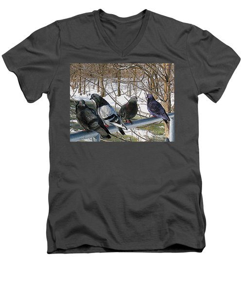 Winter Pigeon Party Men's V-Neck T-Shirt