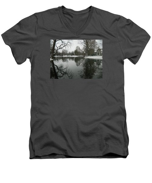 Men's V-Neck T-Shirt featuring the photograph Winter Reflections 2 by Kathy Barney