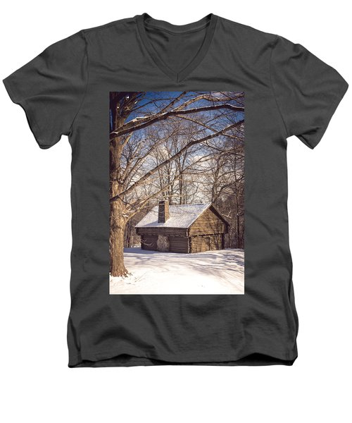Winter Retreat Men's V-Neck T-Shirt by Sara Frank