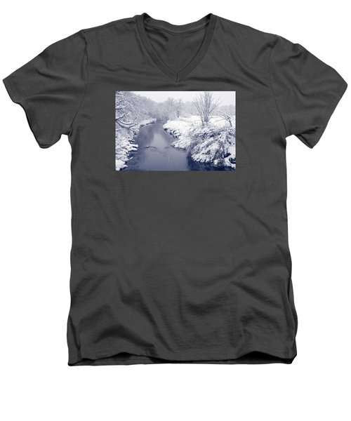 Men's V-Neck T-Shirt featuring the photograph Winter River by Liz Leyden