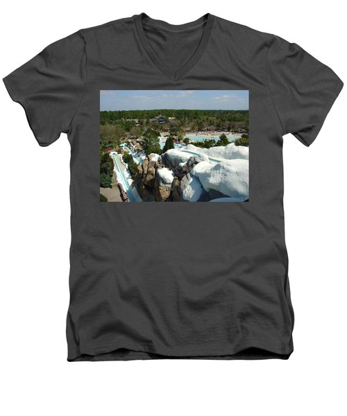 Men's V-Neck T-Shirt featuring the photograph Winter Slides by David Nicholls