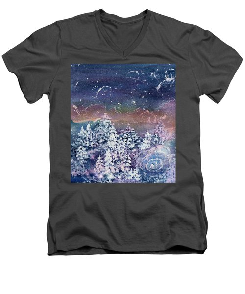 Men's V-Neck T-Shirt featuring the painting Winter Solstice  by Kathy Bassett