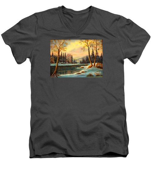 Winter Splendor Men's V-Neck T-Shirt by Hazel Holland
