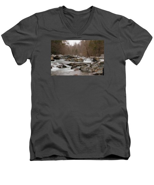Men's V-Neck T-Shirt featuring the photograph Winter Stream by Geraldine DeBoer