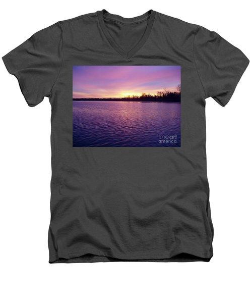 Winter Sunrise Men's V-Neck T-Shirt by John Telfer