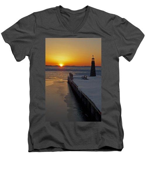Winter Sunset On Lake Winneconne Men's V-Neck T-Shirt by Judy  Johnson