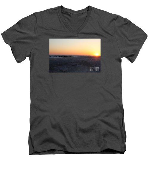 Winter Sunset On Long Beach Men's V-Neck T-Shirt by John Telfer