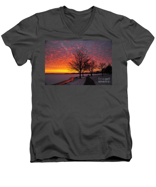Men's V-Neck T-Shirt featuring the photograph Winter Sunset by Terri Gostola