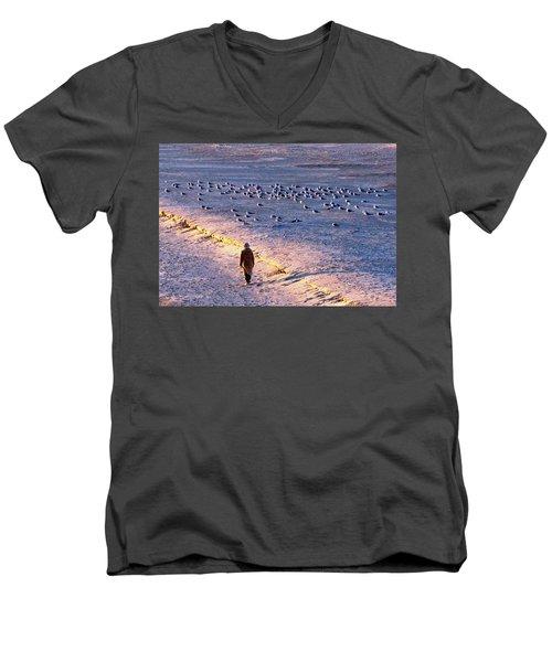 Winter Time At The Beach Men's V-Neck T-Shirt
