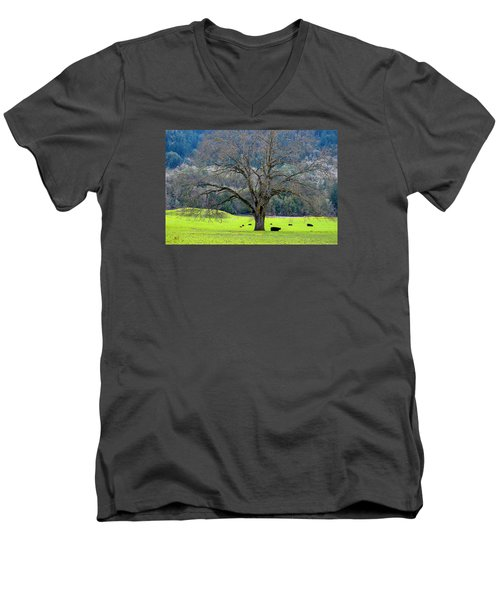 Winter Tree With Cows By The Umpqua River Men's V-Neck T-Shirt by Michele Avanti