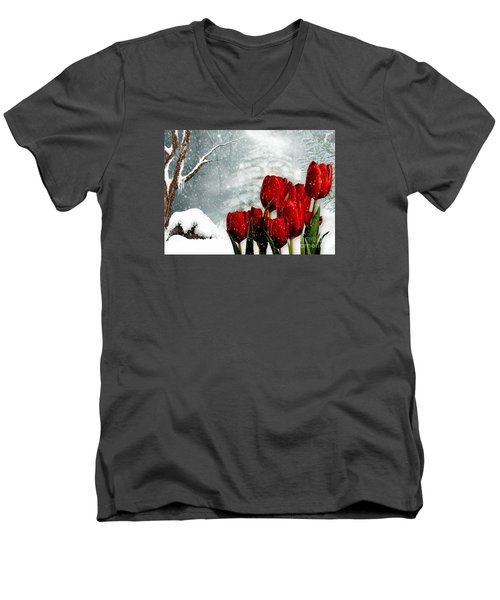 Winter Tulips Men's V-Neck T-Shirt