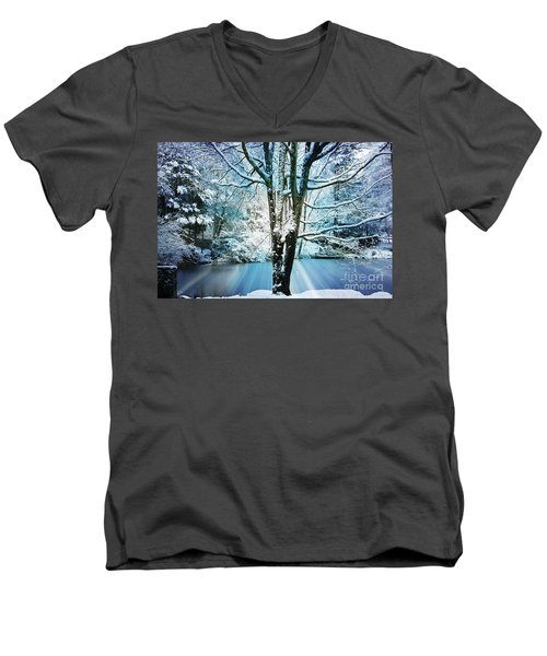Men's V-Neck T-Shirt featuring the photograph Winter Wonderland by Judy Palkimas
