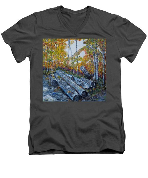 Men's V-Neck T-Shirt featuring the painting Winter's Firewood by Marilyn  McNish
