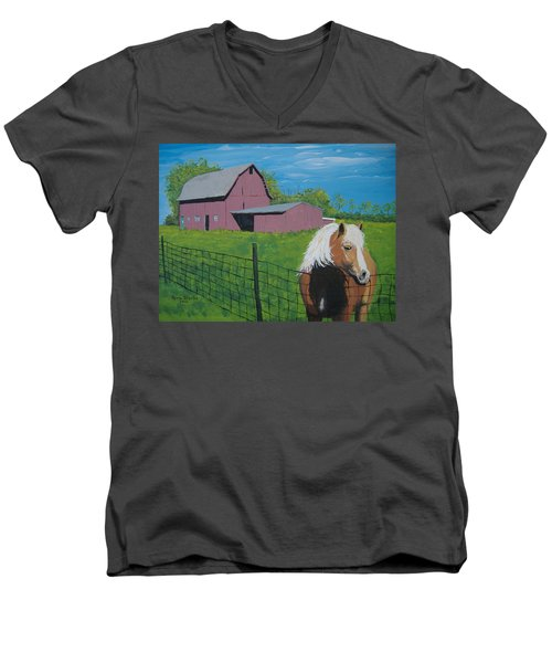 Men's V-Neck T-Shirt featuring the painting Wisconsin Barn by Norm Starks