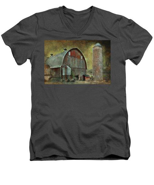 Wisconsin Barn - Series Men's V-Neck T-Shirt by Jeff Burgess