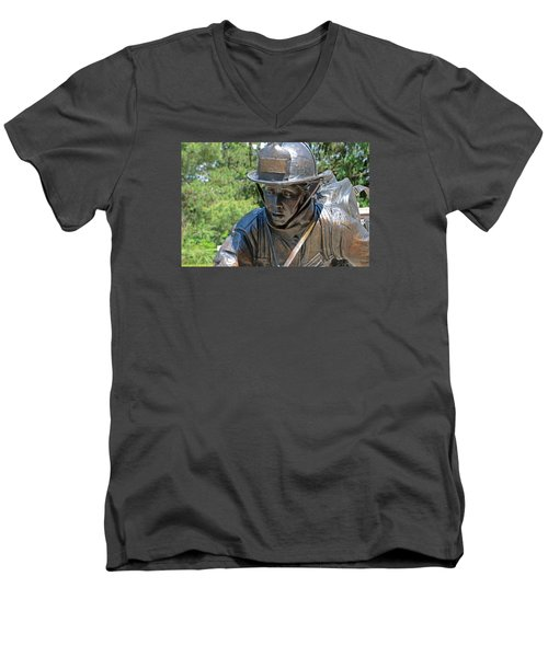 Men's V-Neck T-Shirt featuring the photograph Wisconsin State Firefighters Memorial 3  by Susan  McMenamin