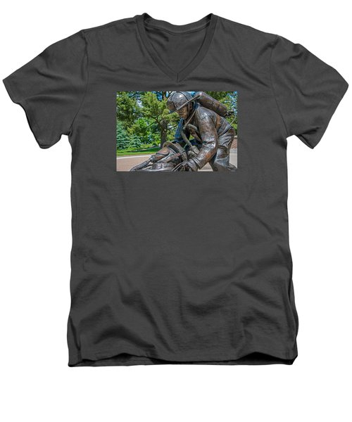 Men's V-Neck T-Shirt featuring the photograph Wisconsin State Firefighters Memorial 4 by Susan  McMenamin