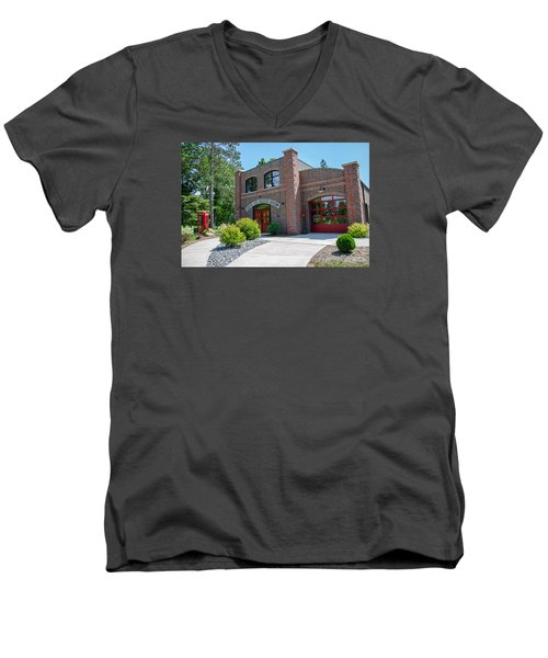 Men's V-Neck T-Shirt featuring the photograph Wisconsin State Firefighters Memorial 6 by Susan  McMenamin