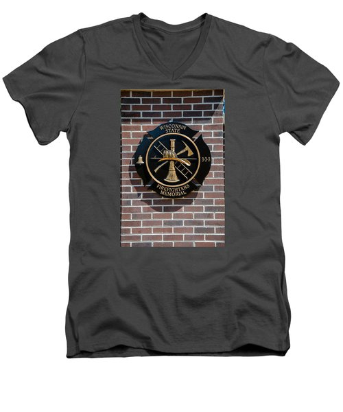 Men's V-Neck T-Shirt featuring the photograph Wisconsin State Firefighters Memorial Park 5 by Susan  McMenamin