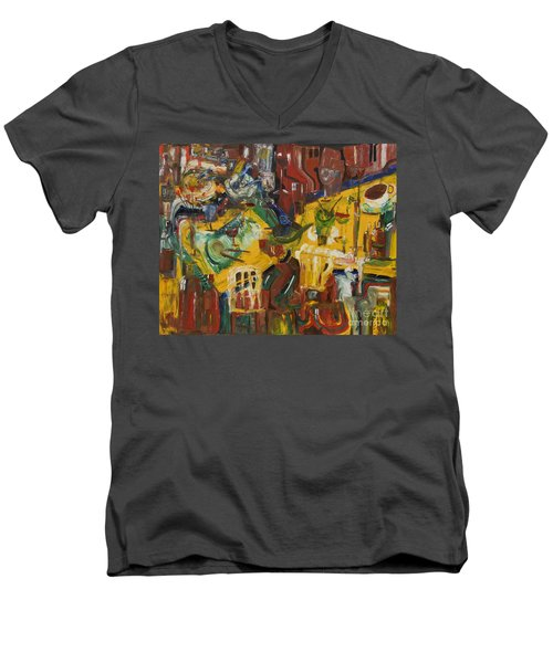 With Coffee To Follow Men's V-Neck T-Shirt