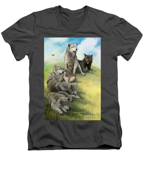 Men's V-Neck T-Shirt featuring the painting Wolf Gathering Lazy by Rob Corsetti