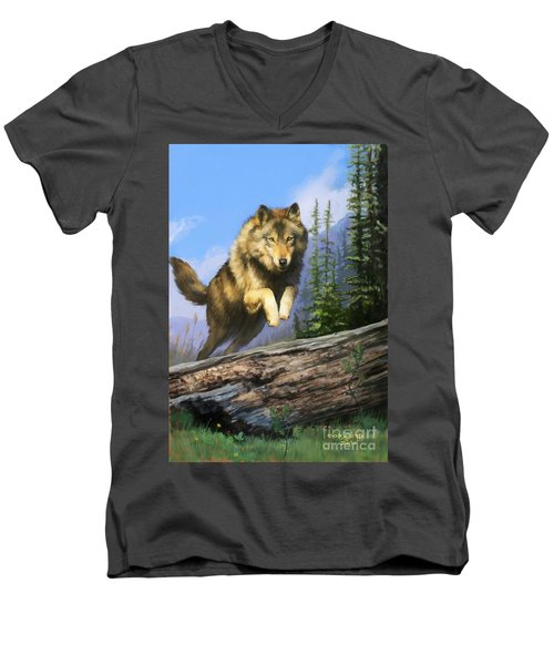 Men's V-Neck T-Shirt featuring the painting Wolf Run by Rob Corsetti