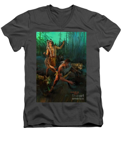Men's V-Neck T-Shirt featuring the painting Wolf Warriors Change by Rob Corsetti