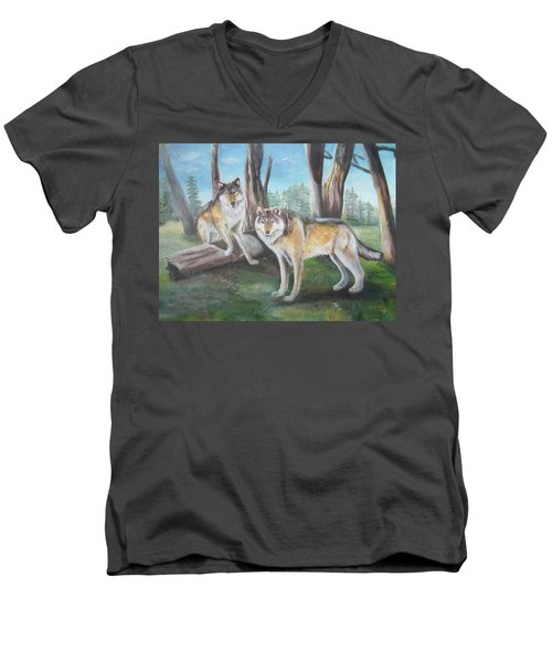 Wolves In The Forest Men's V-Neck T-Shirt