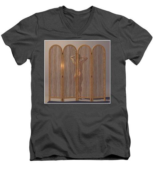 Men's V-Neck T-Shirt featuring the digital art Woman Behind Screen... by Tim Fillingim