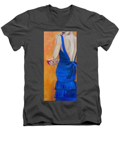 Woman In Blue Men's V-Neck T-Shirt