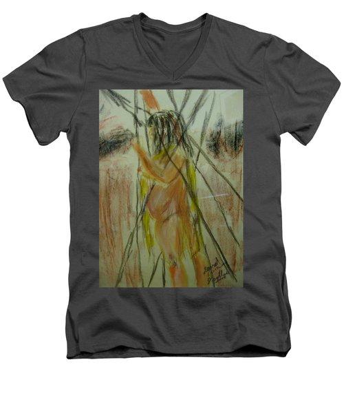 Woman In Sticks Men's V-Neck T-Shirt by David Trotter