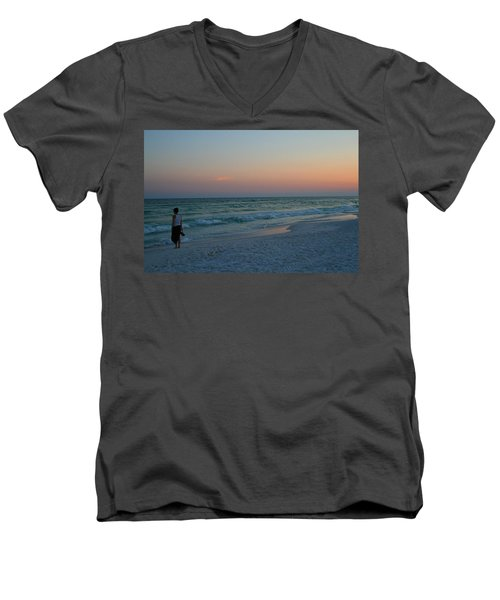 Woman On Beach At Dusk Men's V-Neck T-Shirt