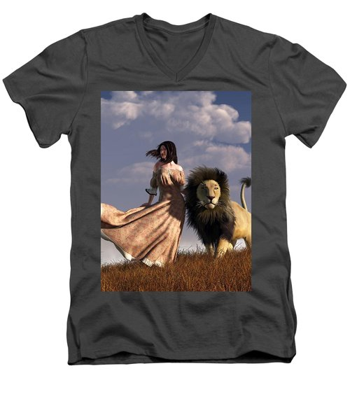 Woman With African Lion Men's V-Neck T-Shirt
