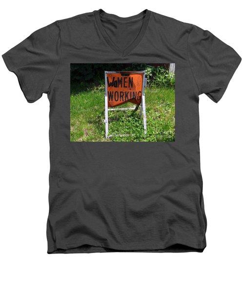 Men's V-Neck T-Shirt featuring the photograph Women Working by Ed Weidman