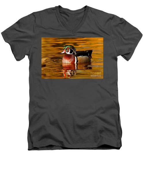 Wood-drake On The Golden Light Men's V-Neck T-Shirt