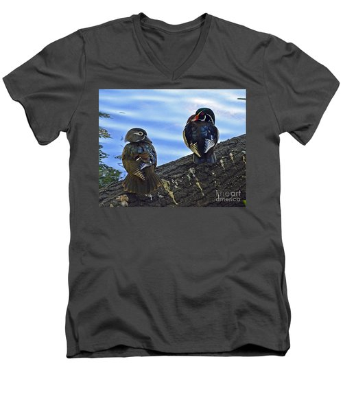 Men's V-Neck T-Shirt featuring the photograph Wood You Love Me Forever by Robert Meanor