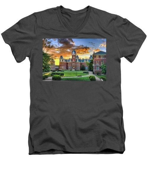 Woodburn Hall Evening Sunset Men's V-Neck T-Shirt by Dan Friend