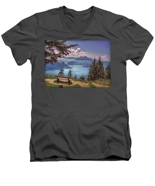 Men's V-Neck T-Shirt featuring the photograph Wooden Bench by Hanny Heim
